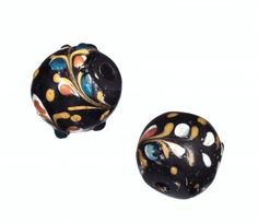 2 #Beads, Fancy Type with #Arabesque Decoration   Corning Museum of #Glass #cmogbeads