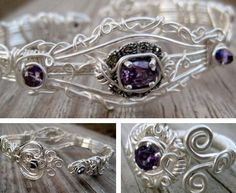 Hand-Formed Artwear Cuff Bracelet & Ring    Materials: Silver plated wire, natural amethyst set in sterling silver, and swarovski crystals.