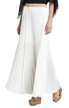 BCBG Max Azria Dallin Maxi Skirt in Gold Metallic Pleat | Style ...