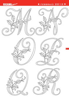 Segni di distinzione by Elio Michelotti - issuu Embroidery Alphabet, Alphabet Art, Embroidery Monogram, Embroidery Transfers, Embroidery Fonts, Hand Embroidery Patterns, Hand Art Kids, Letter Stencils, Creative Lettering