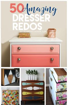 Hello friends! Today I have over 50 of the best and most amazing dresser upcycles! It's amazing what a little paint, vinyl, fabric and mod podge can do! Do you have a favorite??? I love all the colorful ones…but there are even some outstanding simple elegant ones! Enjoy!1.Tribal Dresser 2.Red Baron Dresser 3.Wonder Woman Dresser …