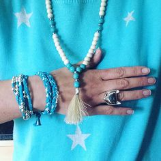 Turquoise! Star jumper by Hush and jewellery by NokoDesigns