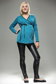 Malachite Naternity Sweater wWith Decorative Belt
