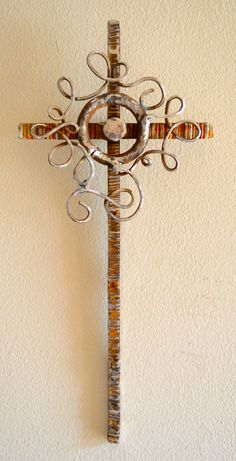 """Joy in Your Presence"", industrial scrap iron cross by cathypartain36, $88.00"