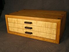 Black cherry case, curly maple drawers, rosewood accents. Mitered case construction with dovetail splines, adjustable solid hardwood dividers, solid wood interior drawer parts, cotton velvet lining. Hand rubbed oil/resin finish.