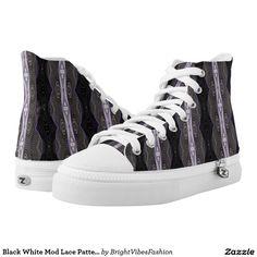 Black White Mod Lace Pattern Design Printed Shoes