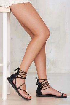 Jeffrey Campbell Adios Lace-Up Leather Sandal - Shoes
