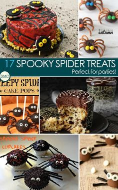 Oh these spider treats are so ADORABLE! I can't wait to make them for Halloween. Click on the image to see the recipes.