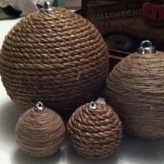 Old ornaments wrapped with twine for my rustic Christmas tree.                                                                                                                                                      More