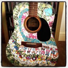 An old acoustic guitar I decoupaged #decoupage #crafts #guitar