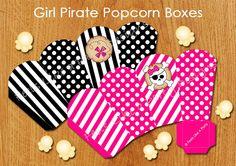 Pink Pirate Popcorn Box- Instant Download