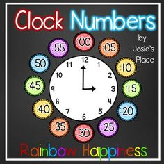 Enjoy these rainbow happiness clock numbers to help your kids tell time. Includes numbers for the 5 minute intervals and signs for o'clock, quarter past, quarter to and half past. Teaching Time, Teaching Math, Teaching Resources, Teaching Ideas, Future Classroom, Classroom Themes, Math Card Games, Clock Numbers, Becoming A Teacher