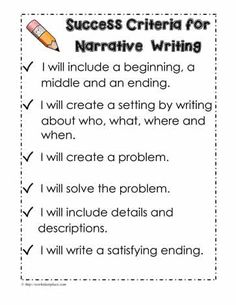 Narrative Success Criteria Writing Worksheets Lessons Teaching Prompts