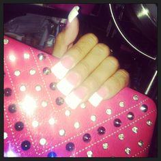Flared acrylic glitter tips gel over medium/ dark base nails