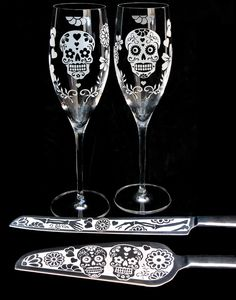 NEW Day of the Dead Wedding Champagne Flutes, Personalized Champagne Glasses, Dia De Los Muertos. $75.00, via Etsy.