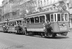 a well-loaded tram 6 Antique Photos, Vintage Photos, Capital Of Hungary, Train Truck, Light Rail, History Photos, Budapest Hungary, Old Pictures, Historical Photos