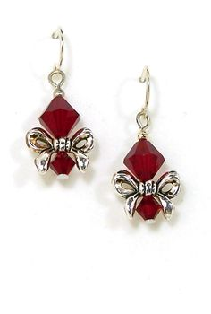 06-01-100 Holiday Bow Earrings, Red
