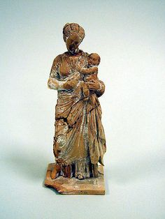 Statuette of a woman with infant Period: Hellenistic Date: 3rd century B.C. Culture: Greek, Boeotian