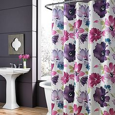 Add a burst of color to your bath with the lovely Midori Shower Curtain. Featuring an oversized floral print in a brilliant color palette that includes fuchsia, lavender, and teal, this bold, beautiful shower curtain will enliven any space. Unique Home Decor, Home Decor Items, Diy Home Decor, Floral Shower Curtains, Shower Curtains Walmart, Ikea, Queens New York, Flower Shower, Bedding Shop