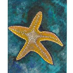 abstract starfish by ArtworkbyJanece on Etsy (Art & Collectibles, Painting, Art, original, painting, abstract, blue, contemporary, landscape, yellow, green, starfish, sea)