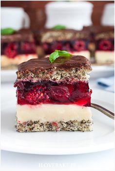 wiśniowa fantazja Polish Cake Recipe, Polish Recipes, Polish Food, Calzone, Food Cakes, Tiramisu, Cake Recipes, Sweet Tooth, Cheesecake