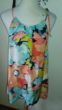 Trina  Turk  ladies  Silk  Blouse  Tunic  Top  Multi-Color  SZ  L  drawstring  #TrinaTurk #Halter #Clubwear