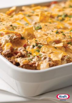 Tex-Mex Beef & Rice Casserole — Here's a ground beef and rice casserole recipe with all the Tex-Mex flavor they love: onions and peppers, tortilla chips, cilantro and a blend of cheeses.