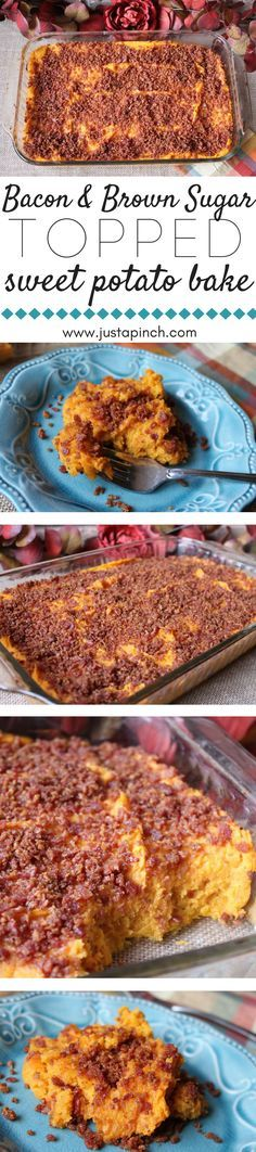 Easy bacon and brown sugar topped sweet potato bake that's delicious and a great make-ahead Thanksgiving recipe!