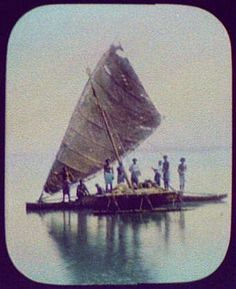Taken in 1895, this photo shows nine Fijian men on a drua (a double-hull sailing boat with origins in the South Pacific). The drua is a distinct symbol of Fiji, although some anthropologist believe that the boat originated from Kiribati and Tuvalu. During my stay in Fiji (Fall, 2009), I had the privilege to sail on a boat very similar to this one.