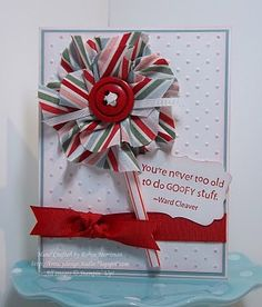 Stampin' Up!  Tasteful Trim  Robin Merriman  Pinwheel card with picture tutorial
