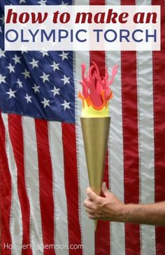 DIY OLYMPIC TORCH - Celebrate the Olympic Games with this fun Olympic Torch! The kids can help make it too! Use it for your Backyard Olympic Games! Senior Olympics, Office Olympics, Kids Olympics, Summer Olympics, Beer Olympics Party, Winter Olympics 2020, Olympic Games For Kids, Olympic Idea, Olympic Flame