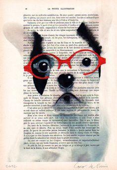 Painting Illustration Digital Print Mixed Media animal Art Poster Acrylic portrait Painting Drawing: Clever bulldog