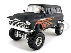 1957 Chevrolet Suburban Diecast Car Model 1/24 Primer Black With Flames by So Real Concepts