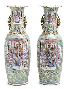 Pair of large Chinese Canton porcelain vases. First third of the 20th Century   www.balclis.com #porcelain #vases #chinesecanton