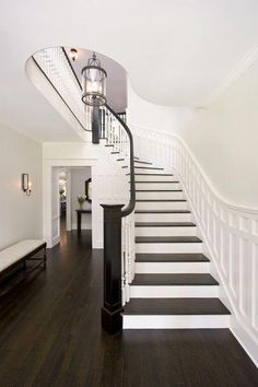 Ideas For Dark Wood Floors Decor Living Room Benjamin Moore Wood Floor Stairs, Stairs Trim, Wood Staircase, Wood Tile Floors, Hardwood Floors, Staircases, Laminate Flooring, Staircase Molding, Paint Stairs