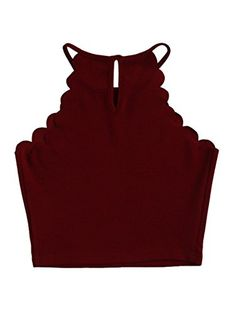 MakeMeChic Women's Solid halter Neck Cami Scallop Trim Workout Crop Top Burgundy S Crop Top Outfits, New Outfits, Casual Outfits, Tunic Tops For Leggings, Blusas Top, Casual Tops For Women, Cut Shirts, Trendy Dresses, Crop Tops