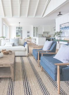 lake house living room blue green and white decor. striped jute rug lake house living room blue green and white decor. Coastal Living Rooms, Living Room Interior, Home Living Room, Living Room Designs, Lake House Family Room, Living Room Blue, Coastal Interior, Modern Coastal, Beach Living Room