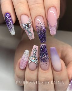 Purple Nails Art Design Ideas - Page 45 of 62 - Latest Fashion Trends For Woman Sexy Nails, Glam Nails, Hot Nails, Bling Nails, Hair And Nails, Jewel Nails, Purple Nail Art, Purple Nail Designs, Cute Nail Designs