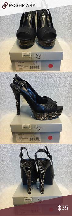 NIB Jessica Simpson Peeptoe High Heels Platform NIB Jessica Simpson Peeptoe High Heels Platform Black with Snakeskin accent on heels size 8.5. Jessica Simpson Shoes