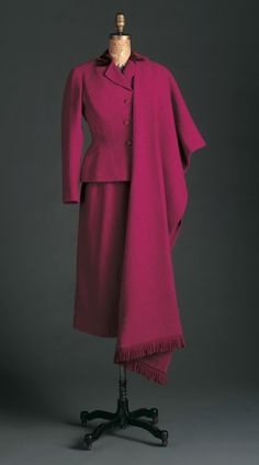~Christian Dior, French, 1905-1957 Suit (Jacket, Skirt and Stole), Fall 1952 Wool and silk velvet