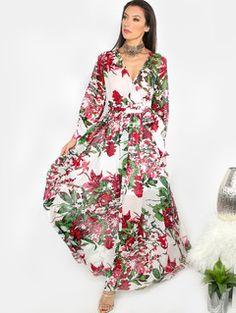 Floral V-Neck Maxi Dress MULTI