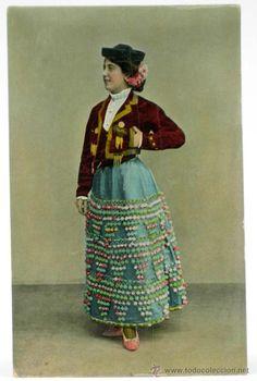 POSTAL MUJER CON TRAJE CORTO CAPEA GOYESCO Nº 18 1914 SIN CIRCULAR (Coleccionismos - Tauromaquia)