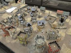 Bunch of pictures of the terrain being fielded at the Chicago Battle Bunker for their Mordheim league. All built from the various GW fantasy buildings with a bi Game Terrain, 40k Terrain, Top Board Games, Warhammer Terrain, Fantasy Miniatures, Tabletop Games, Model Ships, Fairy Houses, Dungeons And Dragons