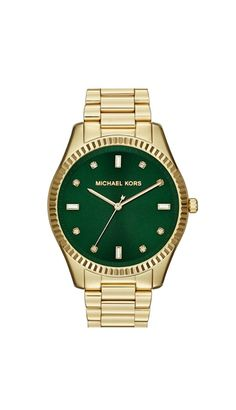 Gold and green Michael Kors watch. Chic.