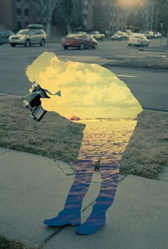 Original pin was about creating a collage with silhouettes - cutting out the image from a magazine, and then turning it over and pasting it to a landscape image. However, you can easily do this with Photoshop. Collage Foto, Art Du Collage, Collage Making, Photomontage, Colorful Pictures, Cool Pictures, Creative Pictures, Beautiful Pictures, Images Cools