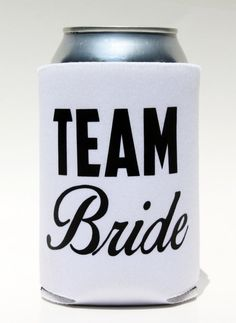 Team Bride Koozie - Coozie Wedding Favor by BeBopProps on Etsy, $5.00