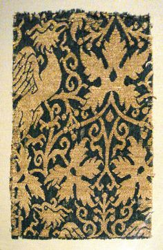 Lampas with phoenix, silk and gold, Iran or Iraq, 14th century.