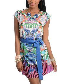 Loving this Magenta & Coral Abstract Tie-Waist Cap-Sleeve Dress on #zulily! #zulilyfinds