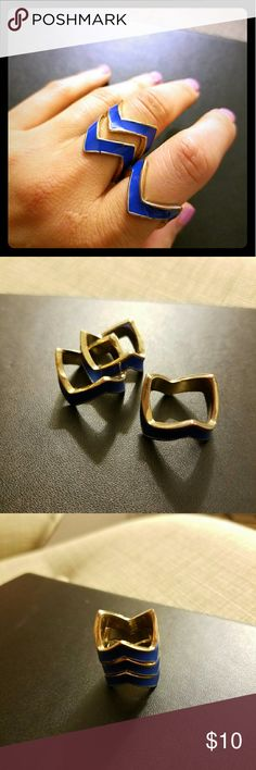 Funky Trio of Chevron Rings This super fun and edgy rings can be worn together or separately. The Chevron design and the bright blue is that perfect pop that every outfit needs. These are definite attention grabbers. Jewelry Rings