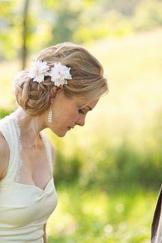 Southern Weddings, North Carolina wedding, Oh Darling Photo, hair flowers, fabric hair flowers, halter wedding dress, simple wedding dress, wedding hairstyle with braids